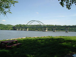U.S. Route 61 - The Dubuque-Wisconsin Bridge over the Mississippi River.