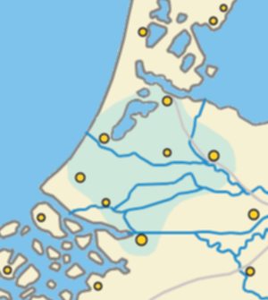 History of urban centers in the Low Countries - The main Hollandic urban centers; c. 1400.