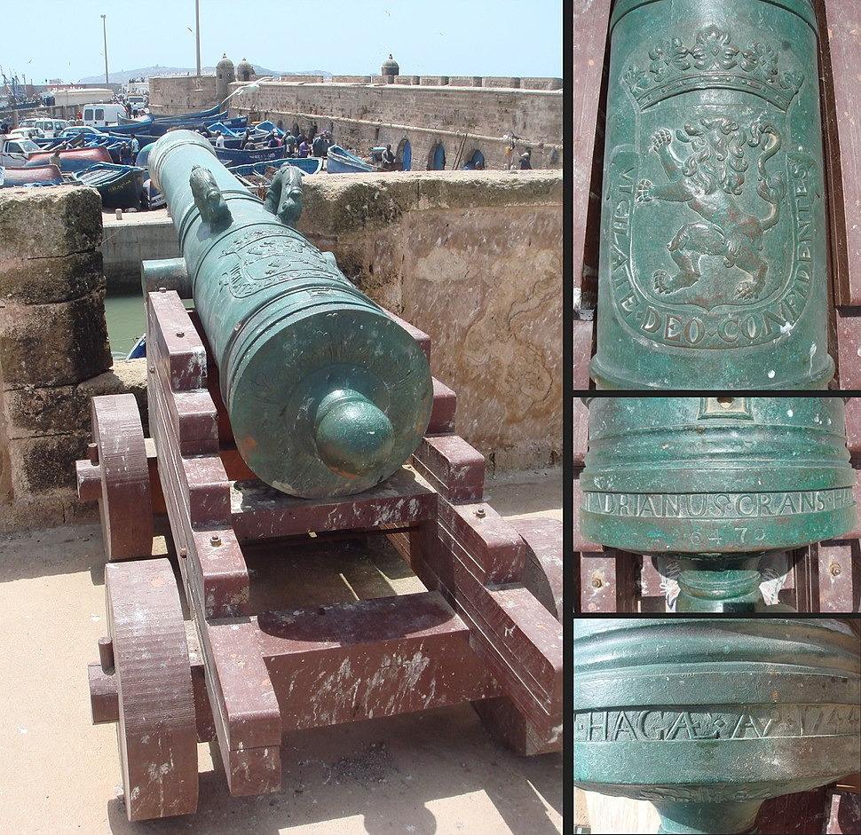 Dutch cannon made by Adrianus Crans in La Hague 1744 installed in Essaouira Morocco