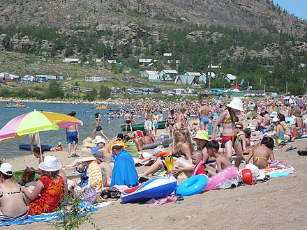 Kazakhstanis on a Lake Jasybay beach, Pavlodar Region Dzhasybay beach.jpg