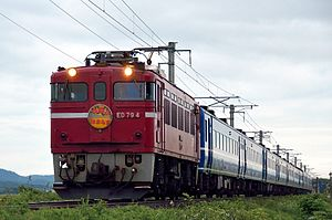 Hamanasu (train) - A Hamanasu service in June 2013 headed by a Class ED79 electric locomotive