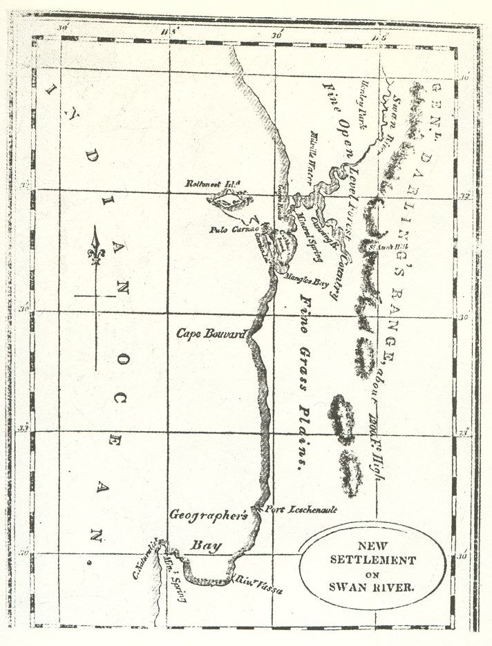 Early map of swan river colony