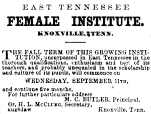 East Tennessee Female Institute - 1872 ad for the East Tennessee Female Institute