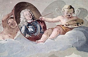 Eberhard Louis, Duke of Württemberg - A cherub paints the portrait of Duke Eberhard Ludwig in this 1711 mural by Luca Antonio Colomba in the Ludwigsburg Palace