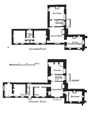 Ecclesfield Priory - A plan of Ecclesfield Priory and Hall before the alterations of 1866; the Hall is to the left, the Priory to the right.