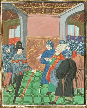 Edmund Beaufort, 2nd Duke of Somerset - Edmund Beaufort at Rouen, from the Chronique of Jean Chartier, c 1470-80