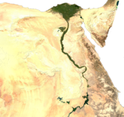 Satellite image of Egypt, generated from raster graphics data supplied by The Map Library