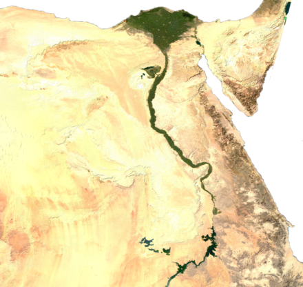 Green irrigated land along the Nile amidst the desert and in the delta Egypt sat.png