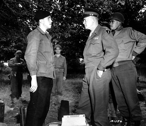 Eisenhower & Bradley with a member of the French Resistance in Normandy