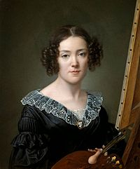 Elisa Counis - Self-portrait in Uffizi Gallery 1839.jpg