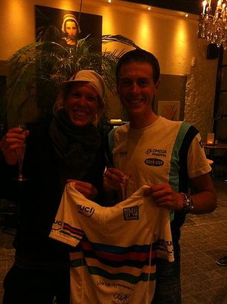 2012 UCI Road World Championships - Ellen van Dijk and Niki Terpstra celebrating their World Team Time Trial title
