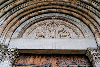 Embrun, Hautes-Alpes - Our Lady of Embrun cathedral: the tympanum on the northern side portal.