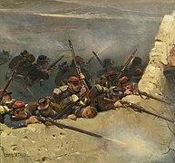 Embusqués derrière un mur. Fantassins de la ligne, fragment du panorama de La Bataille de Champigny.jpg