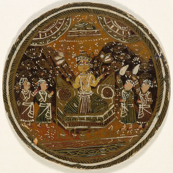 File:Enthroned and Crowned Buddha Holding Lotuses, King of the Buddha Suit, Playing Card from a Dashavatara (Ten Avatars) Ganjifa Set LACMA M.73.55.1.jpg
