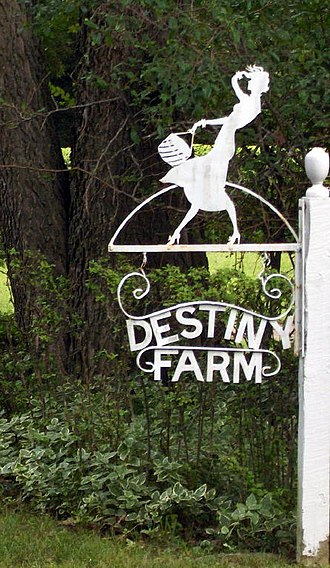 Vernon and Irene Castle - Sign designed by Irene Castle for Destiny Farm in Eureka Springs