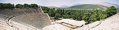 Panoramic view of the Greek theatre at Epidaurus.