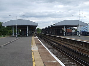 Epsom railway station - View from the platforms looking north.