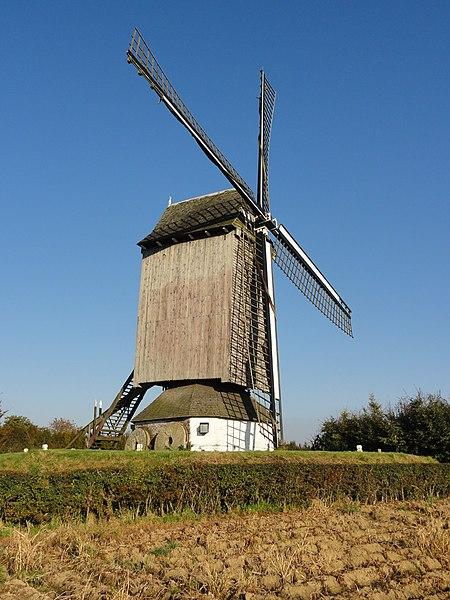 "Windmill ""De Nieuwe Bossenare"" in Etikhove. Etikhove, Maarkedal, East Flanders, Belgium Nederlands: Windmolen ""De Nieuwe Bossenare"" in Etikhove."