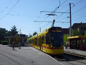 Ettingen - A tram stop in Ettingen, about 2,000 workers commute away from Ettingen every day