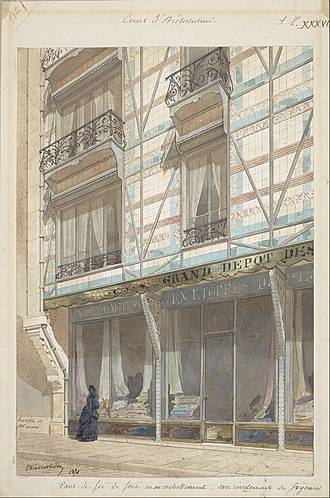 Eugène Viollet-le-Duc - Project for an iron-frame house with glazed earthenware cladding (1871)