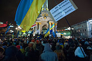 Euromaidan-protestors on 27 November 2013, Kyiv, Ukraine