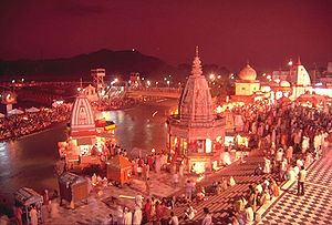 Evening view of Har-ki-Pauri, Haridwar. This i...