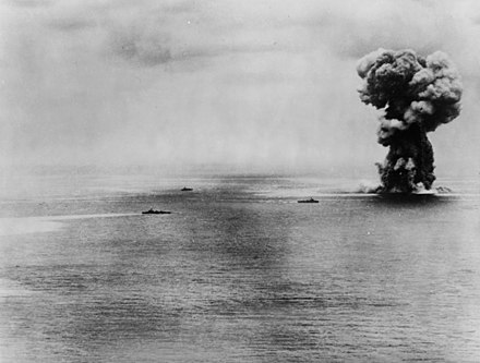 The Japanese battleship Yamato explodes after persistent attacks from U.S. aircraft during the Battle of Okinawa, April 7, 1945. Yamato battleship explosion.jpg