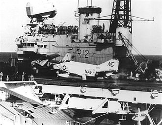 HMS Hermes (R12) - F-4B Phantom of the US Navy operating from Hermes in 1963. Although the Admiralty initially indicated that Hermes would be modernised to operate the Phantom, the plan proved unworkable owing to the ship's small size.