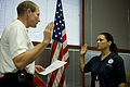FEMA - 39618 - Deputy FEMA Administrator Harvey Johnson swears in former UTMB worker to join FEMA workforce.jpg
