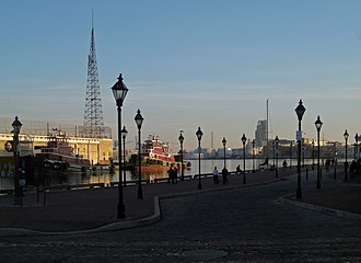 "Fell's Point, Baltimore - The waterfront of the Northwest Branch of the Patapsco River, the old ""Basin"", at Fells Point"