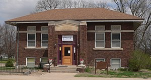 National Register of Historic Places listings in Clay County, Nebraska - Image: Fairfield, Nebraska library from W 1