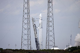 Falcon 9 during engine test fire for CRS-2 (KSC-2013-1687).jpg