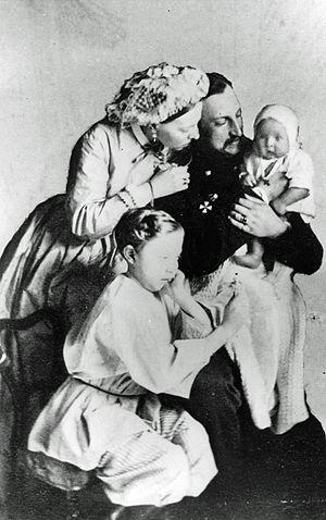 Duchess Alexandra Petrovna of Oldenburg - Grand Duke Nicholas Nikolaevich his wife Grand Duchess Alexandra Petrovna of Russia and their two sons.1864.