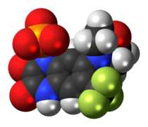 Space-filling model of fanapanel as an anion