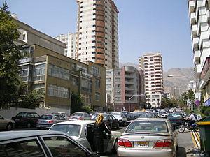 Farmanieh - Traffic in Farmanieh along Dibaji Street looking north towards Farmanieh Street