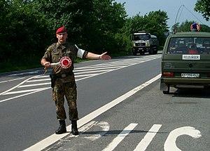 Feldjäger - Feldjäger controlling military traffic.