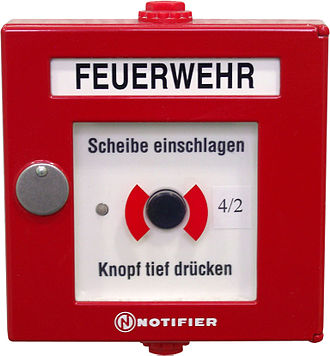 Manual fire alarm activation - German manual call point with paint from NOTIFIER (Honeywell)