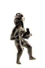 Figurine van Mercurius met drie falli in brons