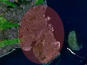 Finger Plan - An aerial image showing the metropolitan area of Copenhagen, following the Finger Plan.