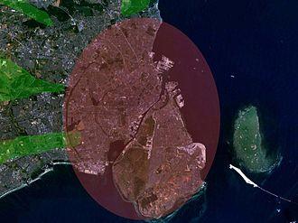 Finger Plan - An aerial image showing the metropolitan area of Copenhagen, following the Finger Plan.