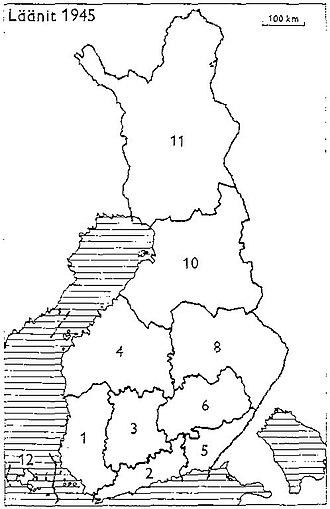 Petsamo Province - Provinces of Finland 1945: 1: Turku and Pori, 2: Uusimaa, 3: Häme, 4: Vaasa, 5: Kymi, 6: Mikkeli, 8: Kuopio, 10: Oulu, 11: Lapland, 12: Åland