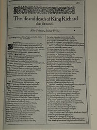 Faksimil av första sidan i The life and death of King Richard the Second från First Folio, publicerad 1623
