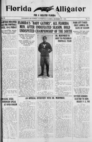 The Independent Florida Alligator - A 1922 issue of the Florida Alligator.