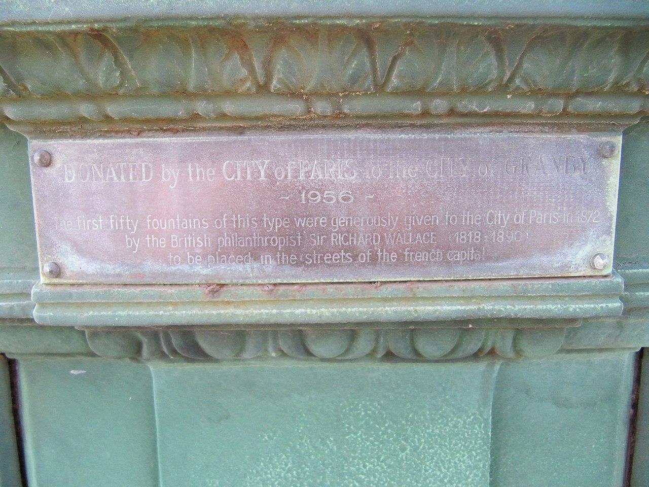 File fontaine wallace ville de granby 2012 plaque en jpg for Fontaine piscine