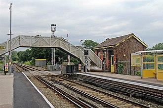 Hall Road railway station - Image: Footbridge and Building, Hall Road Railway Station (geograph 2994489)