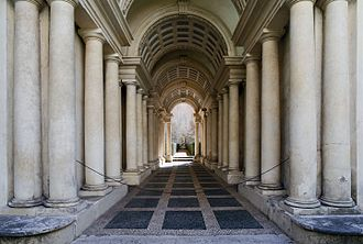 Palazzo Spada - Forced perspective gallery by Francesco Borromini. The corridor is much shorter, and the sculpture much smaller, than they appear.