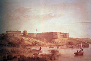Fort Trumbull - Fort Trumbull as constructed after 1839, painted by Seth Eastman under commission of the US Army in 1870