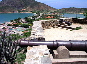Juan Griego - La Galera, a Spanish colonial fort, separates the bay in two