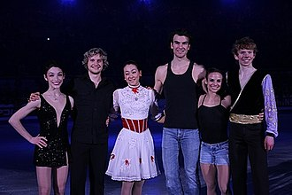 Kevin Reynolds (figure skater) - Reynolds (first from right) with other gold medalists of the 2013 Four Continents Championships at the exhibition gala