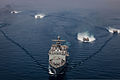 Four U.S. Navy landing craft, air cushion maneuver behind the amphibious dock landing ship USS Rushmore (LSD 47) during an amphibious exercise in the Arabian Sea March 29, 2013 130329-M-HW830-546.jpg